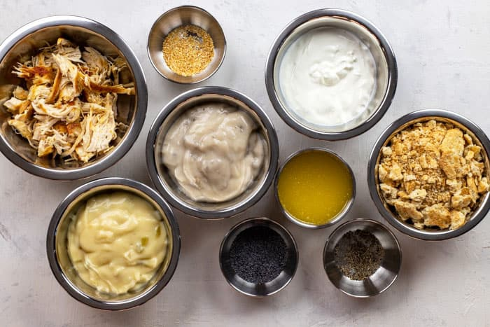 ingredients measured out in separate bowls on counter