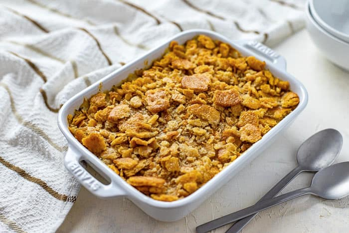 shredded chicken with sour cream poppy seed mixture crushed crackers on top