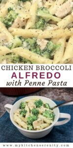 white bowl of chicken broccoli alfredo pasta on blue napkin