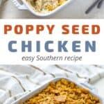 baked poppy seed chicken casserole in white dish