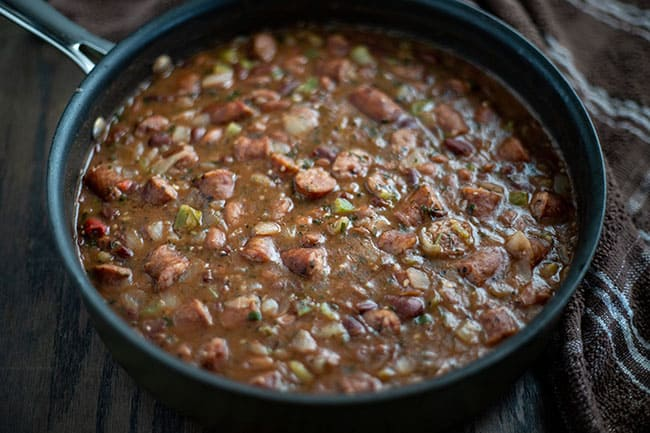 sausage-veggies-beans after simmering