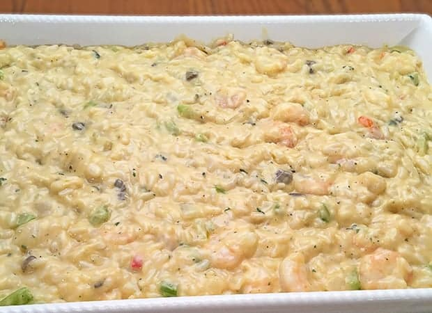 shrimp and rice before baking