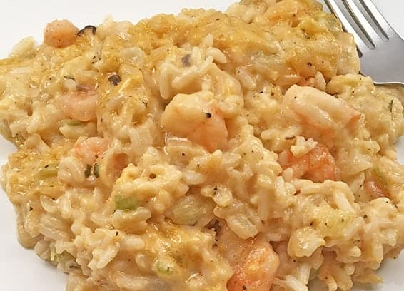 shrimp and rice plated