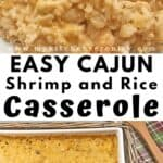 shrimp rice casserole in white casserole dish