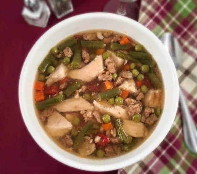Low Carb Chicken Vegetable Soup with Sausage