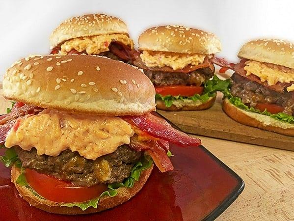 Pimento Cheese and Bacon Stuffed Hamburgers