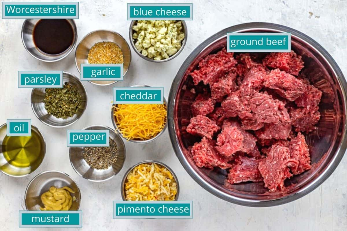stuffed hamburger ingredients measured out individually on counter