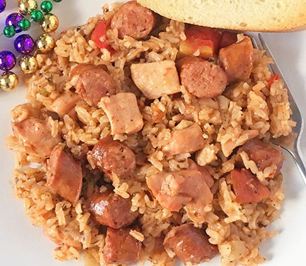cooked jambalaya in plate