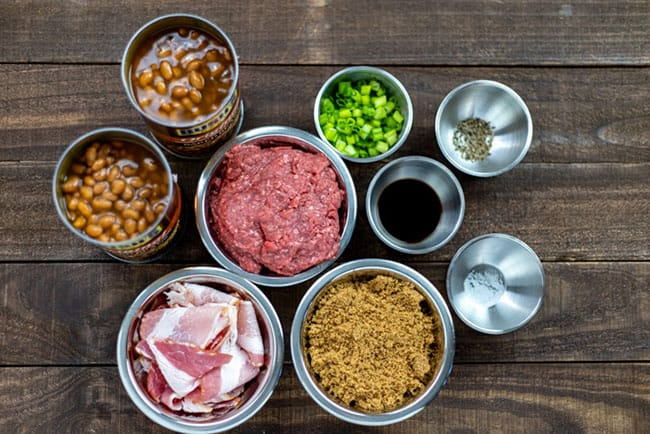 baked beans ingredients on table