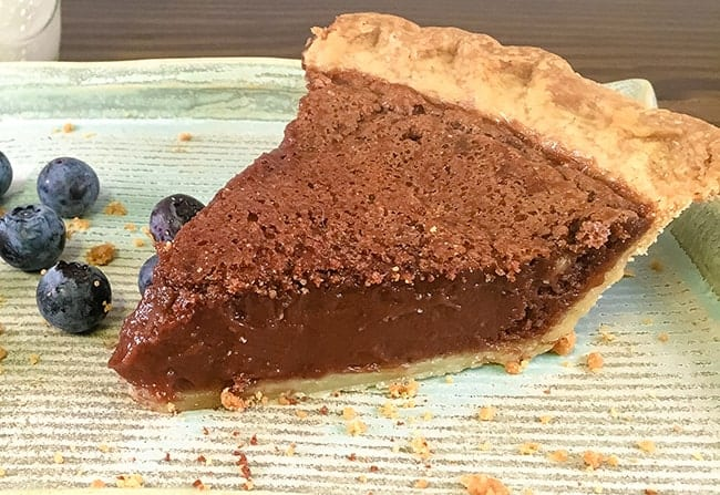 chocolate chess pie on plate