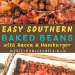 easy baked beans with bacon on top