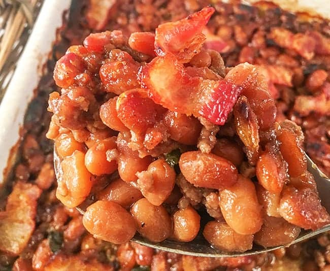 Easy Baked Beans with Ground Beef, Bacon, and Brown Sugar