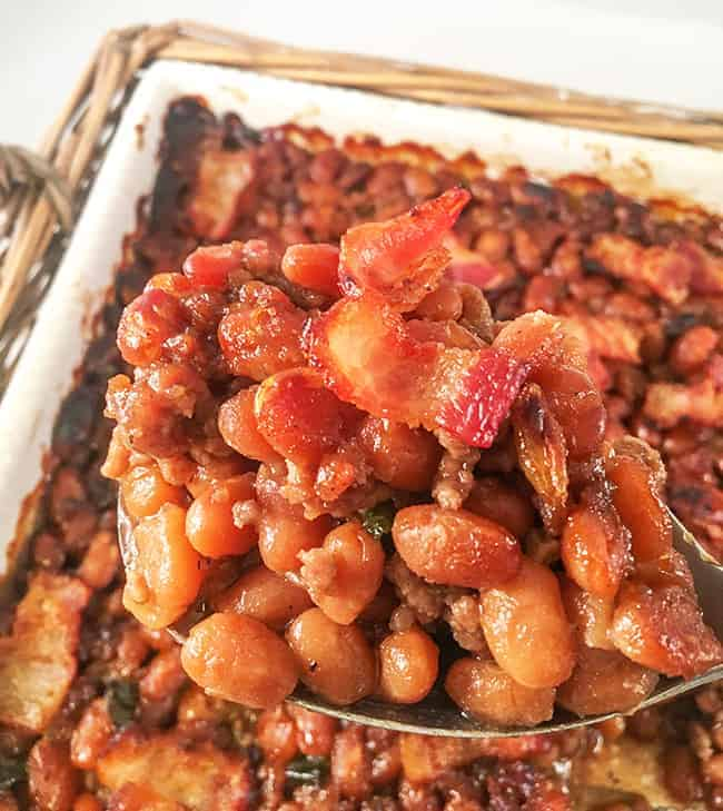 baked beans in casserole dish