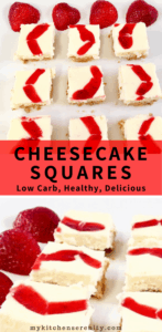low carb strawberry cheesecake squares on white plate with strawberry slice as garnish