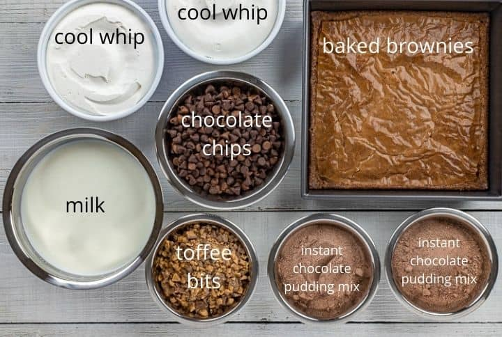 trifle ingredients measured out in bowls on countertop