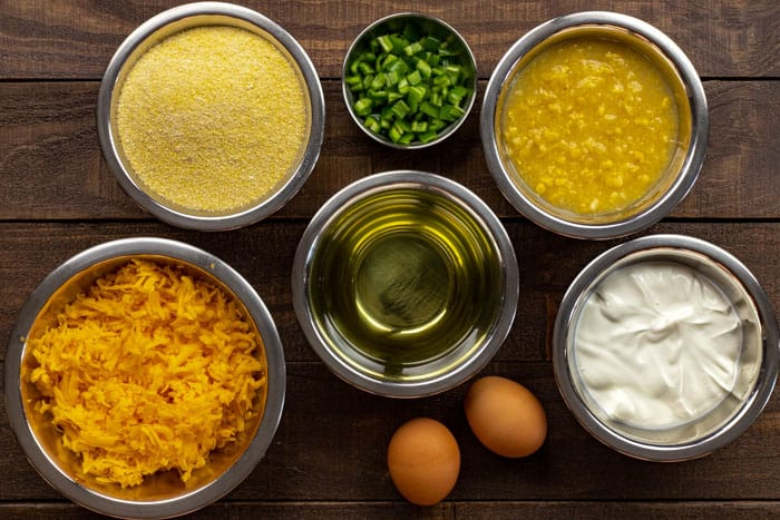 Mexican Cornbread Ingredients measured out in individual bowls