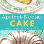 southern apricot nectar cake in glass cake plate
