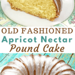 whole apricot nectar cake on glass platter with slice of cake on plate on side