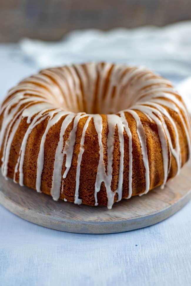 baked cake with glaze