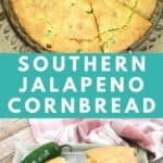cheesy jalapeno cornbread baked in glass pie plate