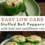 low carb keto stuffed bell peppers in white casserole dish