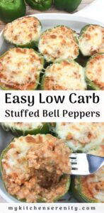 ground beef, tomato sauce, and cauliflower stuffed bell peppers