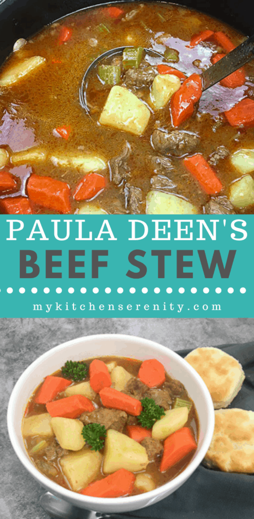beef stew in black pot and bowl of beef stew