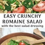 crunchy romaine toss salad in wooden bowl with wooden spoon