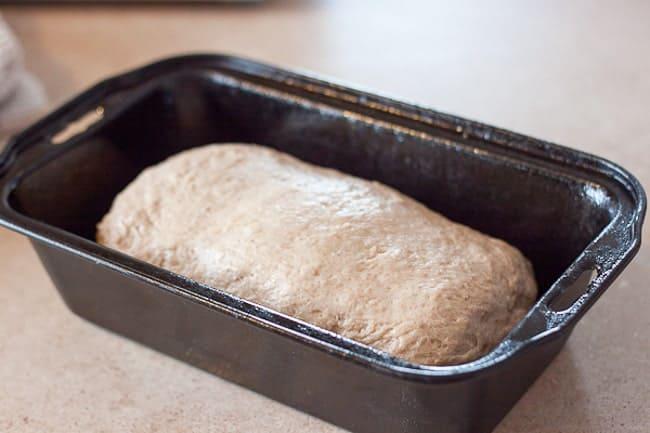 Dough in prepared loaf pan
