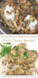 southern smothered pork chops on top of rice on white plate