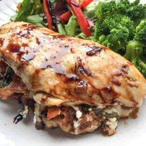 stuffed chicken breast with mixed veggies