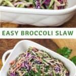 broccoli slaw in white casserole dish