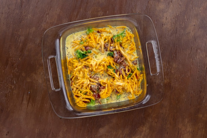 unbaked breakfast casserole in square dish