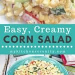 creamy corn salad in teal blue bowl