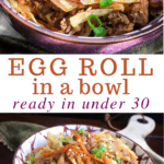 egg roll in a bowl in purple bowl