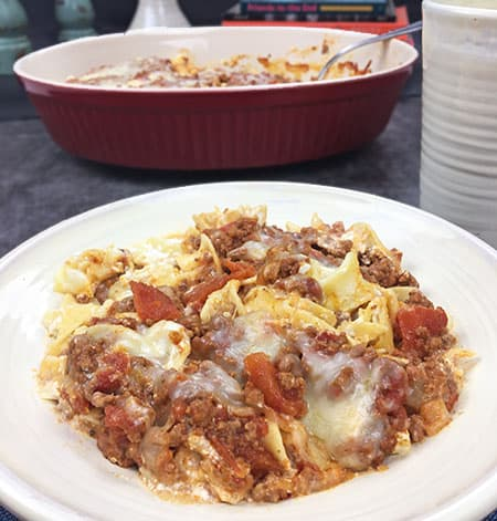 Creamy Beef Noodle Casserole in white bowl