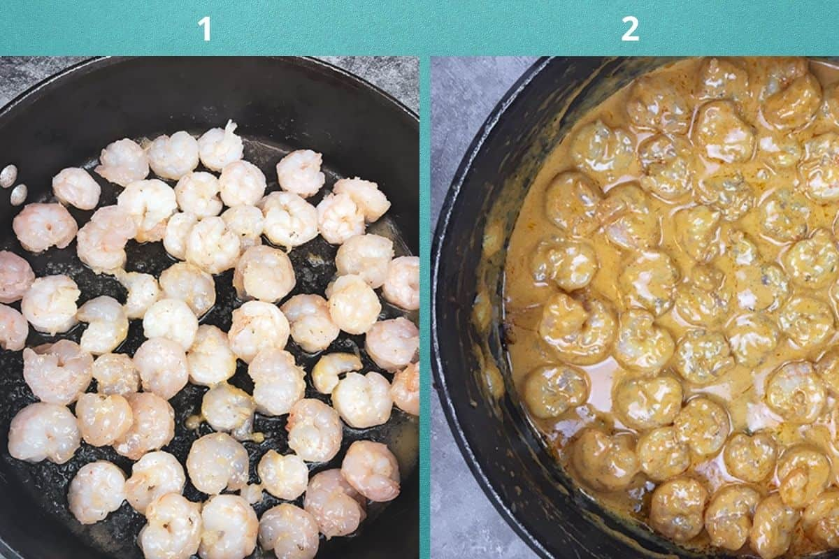 sauteed shrimp in skillet on left and finished shrimp creole sauce on right