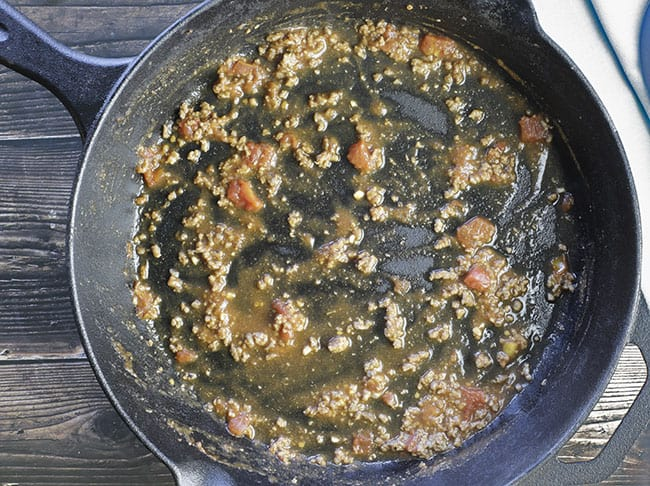 thin layer of meat sauce in skillet