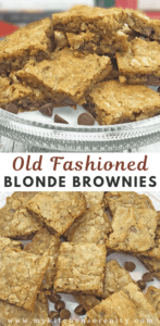 blonde brownie squares on glass platter with chocolate chips as garnish
