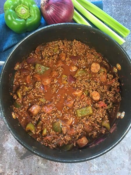 cooked low carb keto chili