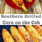 southern grilled corn on the cob on red plate with a hamburger