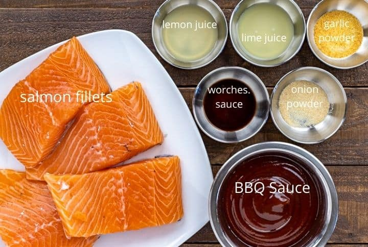grilled bbq salmon ingredients measured out in bowls