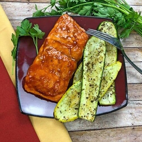 grilled zucchini and salmon