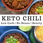 low carb keto chili in red and blue bowls with jalapeno slices and shredded cheese as garnish