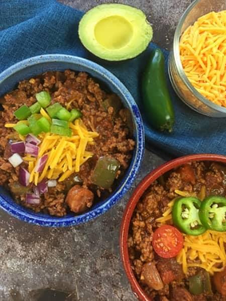 low carb keto chili two bowls