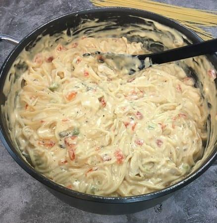 Rotel chicken spaghetti prep