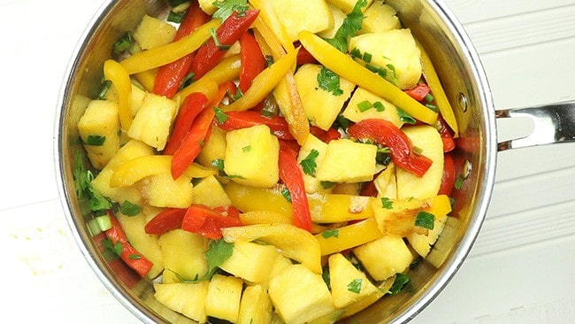 peppers, pineapple, green onion, and parsley