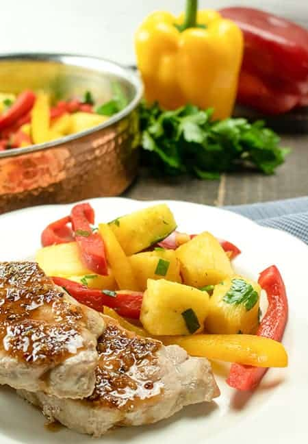 sweet and sour pork chops with peppers and pineapple