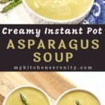 soup in white bowls with asparagus garnish
