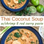 thai coconut soup a blue bowl with shrimp and parsley as garnish